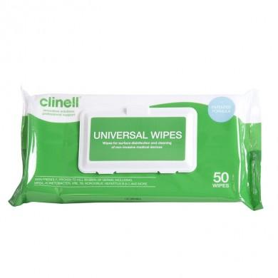 Lingettes de désinfection Clinell – 50 lingettes désinfactantes
